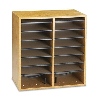 Safco - Wood/Laminate Literature/Cd Sorter 16 Section 19 1/2 X 11 3/4 X 20 Medium Oak