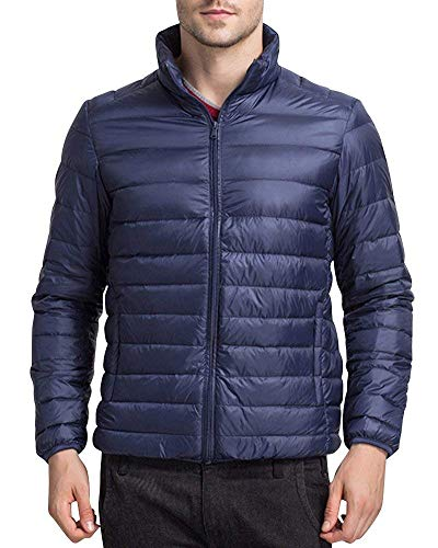 Battercake Men's Down Jacket Jacket Jacket Quilted Winter Padded Jacket Jacket with Stand Collar Comfortable Outerwear Jacket Coat Marine
