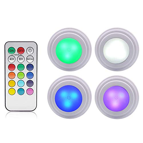 GreeSuit Under Cabinet Lights LED Wireless - Remote Control Brightness Adjustable LED Puck Cupboard Light, Multi Color LED Accent Lights Battery Powered