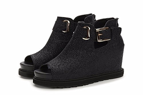 Women'S Mouth The Sandals Cake Shoes Increased Thirty Fish The Bottom The Inside Slope Thick In And The The Four Women'S Height Sponge Shoes Summer KPHY Platform And Is Black Waterproof The Spring ygpafqZT
