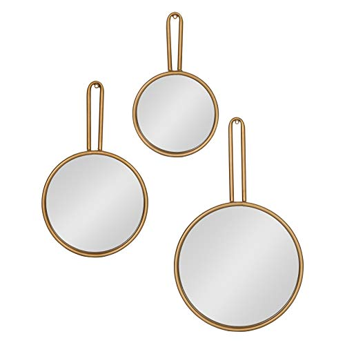 (Kate and Laurel Varela Modern Design 3-Piece Decorative Round Metal Mirror Set for Wall Decor in Cascading Sizes,)