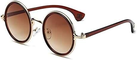 SCLM Vintage Fashion Unisex's Round Mirror Metal Frame Sunglasses