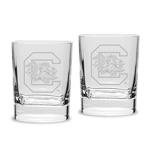 NCAA South Carolina Fighting Gamecocks Luigi Bormioli Square Round Double Old Fashion Glass - Set of 2, Clear, 11.75 - Carolina Old Fashioned Double