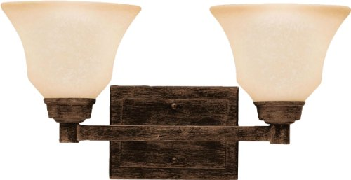 Kichler 5389CST Langford 2LT Vanity Fixture, Canyon Slate Finish with Dusty Citrine Glass - Dusty Citrine Glass