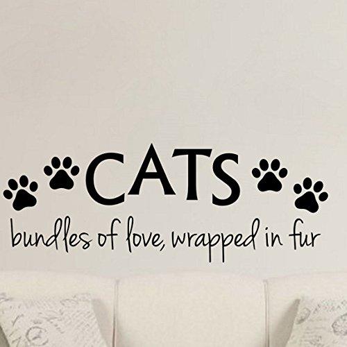 Paquetes de gatos del amor, envuelto en piel - Vinilo Decorativo De Pared Love Huellas de gato Kitty Pelo de familia de Babies Kids Animal Rescue Pet Store ...