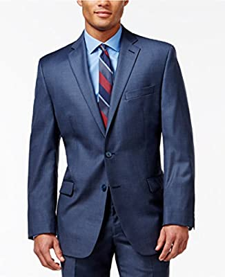 Calvin Klein Slim Fit Blue Textured Wool Two Button New Men's Sport Coat