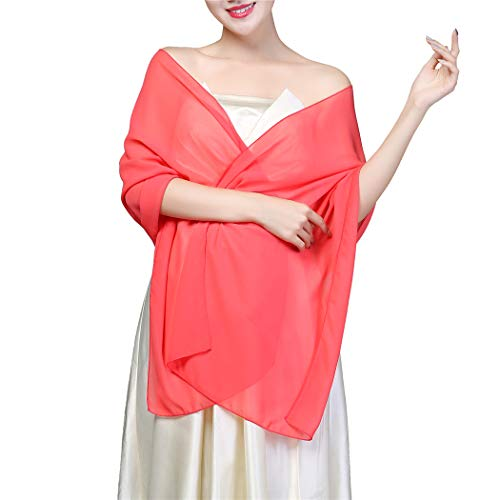 Soft Chiffon Shawls and Wraps for Evening Dresses, Wedding Shawl Wrap Fringes Scarf for Special Occasions (Chiffon, Coral)