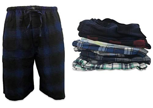 AMERICAN ACTIVE 24/7 Basics Men's 3 Pack Cotton Soft Sleep Lounge Pant Jam Cargo Shorts (L, 3 Pack - Plaid Assortment)