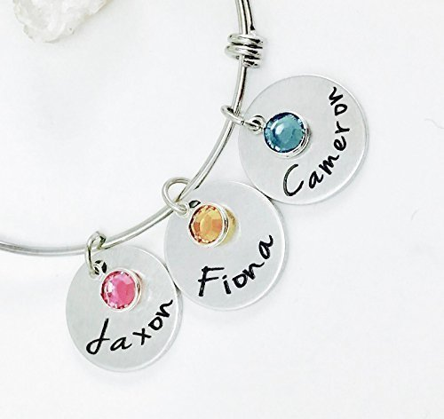 Personalized Birthstone Charm Bangle Bracelet with Names