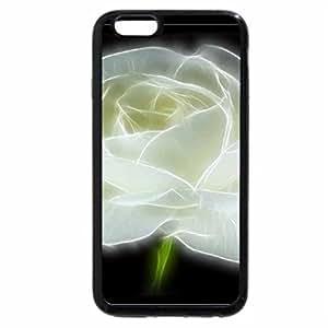 iPhone 6S / iPhone 6 Case (Black) White fractal rose.