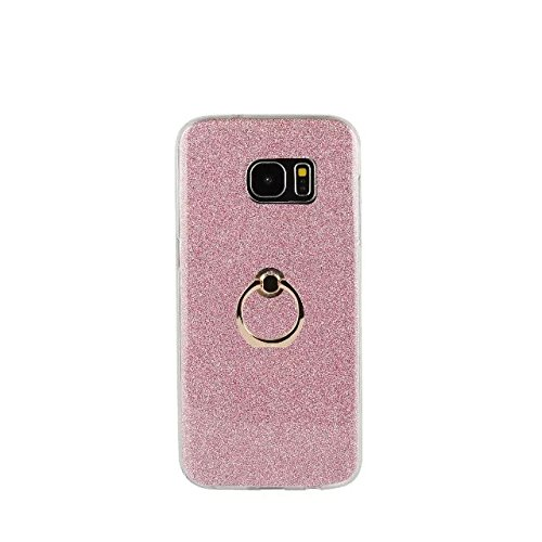 Luxury Bling Sparkle Style Case, Soft TPU [Silicone] Flexible Glitter Back Cover with Fingerring Stand [Anti Scratch] [Shockproof] for Samsung Galaxy S7 Edge ( Color : White ) Pink