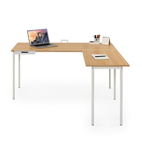 Zinus Shaped Corner Desk in Cream by Zinus