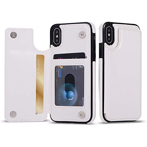 iPhone Xs Max Wallet Case with Card Holder, iPhone Xs Max Case, Brofans Premium PU Leather Kickstand Card Slots Case,Double Magnetic Clasp and Durable Shockproof Cover (White)