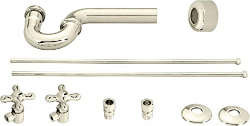 Westbrass Traditional Pedestal Lavatory Kit with Cross Handles, Polished Nickel, D1838L-05