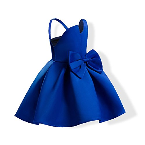 Gown Prom Aurora (FUNNY365 Girls Sleeveless Bowknot Princess Belle Costume Dress up (6, Blue))