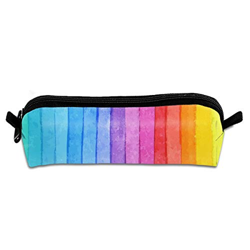 FRTSFLEE Rainbow Stripes Pencil Bag Pencil Case Portable Stylish Pen Bag Multifunctional School Supplies for Watercolor Pens & Markers for Students & Artist