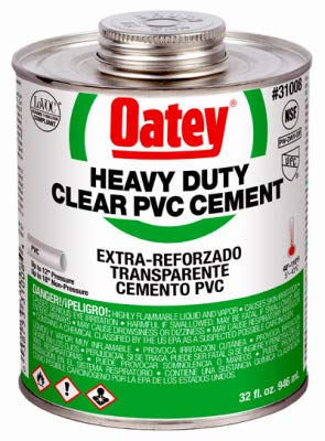 Oatey 31008 32-oz. Clear Heavy-Bodied PVC Pipe Cement - Quantity 12
