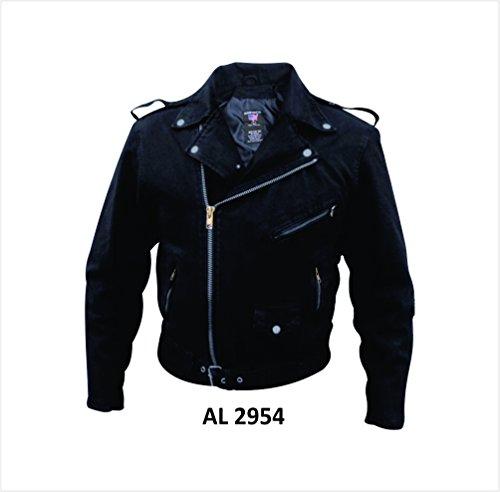Denim Biker Jacket (Mens Black Denim Basic Motorcycle Style Jacket W/Half Belt AL-2954-4XL)