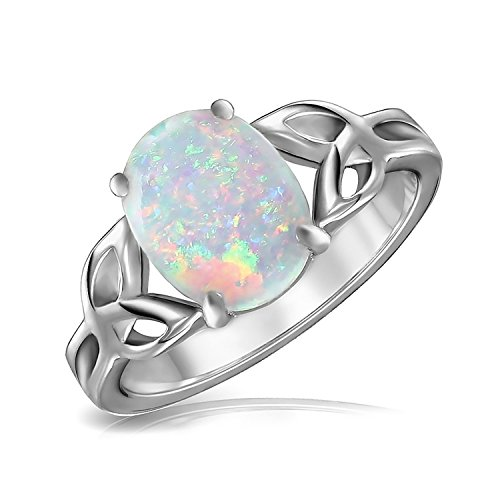 Triquetra Celtic Knot Oval Synthetic White Opal Sterling Silver Ring