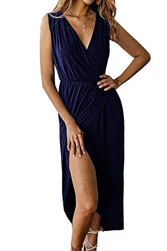 Sleeveless Wrap Cotton Dress - Yidarton Women's Casual Sexy Deep V Neck Wrap Sleeveless Slit Solid Party Summer Long Maxi Dress (Large, Navy1)