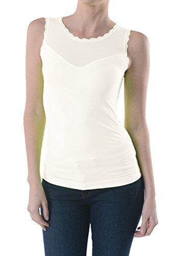 Seamless Fashion Mesh Front Lace Trim (White) (Lace Trim Mesh Cami)