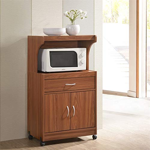 Pemberly Row Microwave Kitchen Cart in Cherry