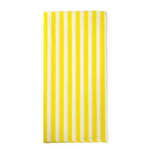 JINSEY Pack of 3 Plastic Yellow and White Striped Print Tablecloths - 3 Pack - Party Picnic Table (Striped Table Cover)