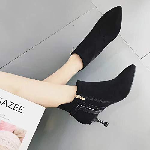 LBTSQ-Kurze Stiefel Haben Kröten Martin Stiefel Damenschuhe Dünnen Dünnen Dünnen Absätzen High Heels Witze Mode Mao Mao-Stiefel. 3d9ea2
