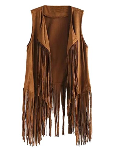 PERSUN Women's Brown Tassel Detail Suedette Waistcoat,Medium