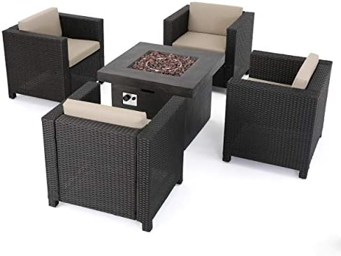 GDFStudio Livingston Outdoor 4 Pc Club Chair Set w/Water Resistant Cushions Stone Firepit Brown