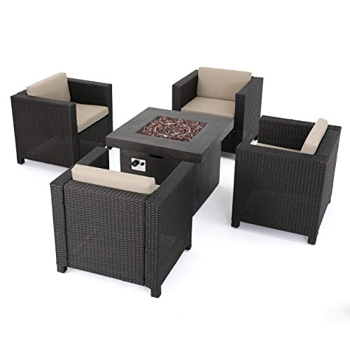 GDFStudio Livingston Outdoor 4 Pc Club Chair Set w Water Resistant Cushions Stone Firepit Brown