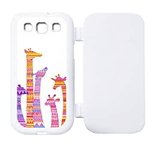 Colorful Aztec Tribal Giraffe Protective Rubber Flip Cover Case for SamSung Galaxy S3