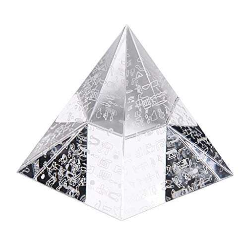 OwnMy 80MM Crystal Pyramid Prism Desk Ornament Glass Paperweight Egyptian Pyramid with Egyptian Silver Character for Decoration/Gift/Collection ()
