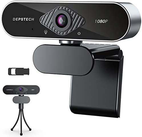 Webcam with Microphone, DEPSTECH 1080P HD Webcam with Auto Light Correction for Desktop/Laptop, Streaming Computer USB Web Camera for Video Conferencing, Teaching, Streaming, and Gaming