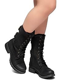 Florence2 Women's Military Ankle Lace Up Buckle Combat...