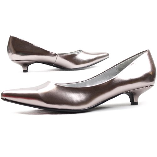 Heel Leather Women's Kitten Pewter Shoes Qupid Pumps Toe Patent Pointy Fashion High Comfortable Iwx4E4q