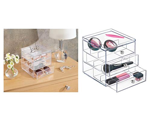 InterDesign Drawers Caja para guardar gafas | Caja organizadora apilable para gafas, gafas de lectura y gafas de sol | Caja para gafas con 3 cajones | Plástico transparente