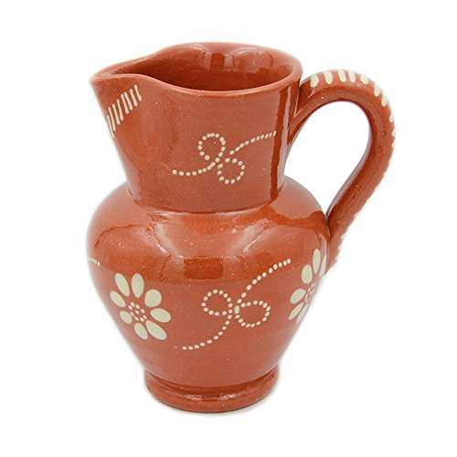 Portuguese Pottery Glazed Terracotta Hand Painted Wine Pitcher (6 Cups - 1.5 Liters)