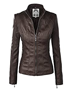 MBJ WJC877 Womens Panelled Faux Leather Moto Jacket COFFEE XXL