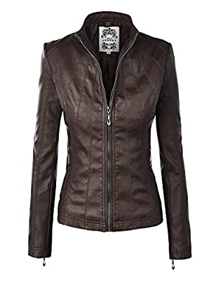 MBJ WJC877 Womens Panelled Faux Leather Moto Jacket COFFEE XS