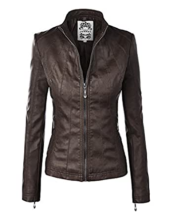 Made By Johnny MBJ WJC877 Womens Panelled Faux Leather Moto Jacket M Coffee