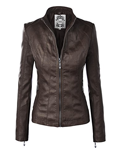 WJC877 Womens Panelled Faux Leather Moto Jacket L -