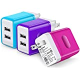 USB Wall Charger, Charger Plug, Canjoy 3Pack 3.0A Dual USB Wall Charger USB Plug Wall Adapter Charger Cube Compatible iPhone iPad,Samsung Galaxy,Moto,Google Pixel,Nexus,LG,HTC,Tablet-Blue Purple Rose