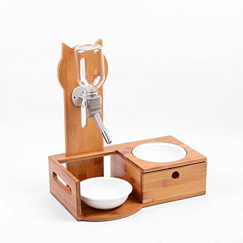 Pet Drinking Fountain Mesa De Comedor para Mascotas Bambú Perro De Alto Grado Waterer Kettle Cat Bowl Gato Mesa De Comedor Regalo Perfecto Fácil De Limpiar,D-35 * 18 * 38cm