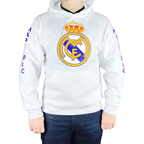 Real Logo Sweatshirt (REAL MADRID C.F. LOGO UNISEX WHITE HOODIE LARGE)