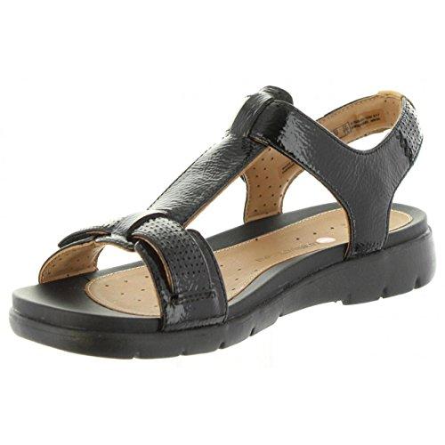 Femme 36 Vacances Clarks Sandales Enduit En Cuir Un Haywood Noir Taille pU1Zwq