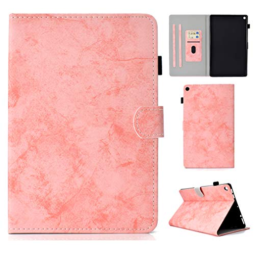 LMFULM? Case for Amazon Fire HD 10 2015 / 2017 (10.1 Inch) PU Leather Ultrathin Magnetic Closure Foldable Leather Cover of Bookstyle Auto Sleep / Wake Function Card Slot and Stent Function Holster Lea Pink