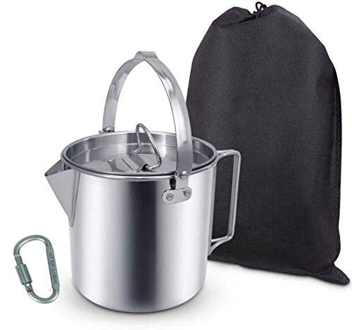 Camping Tea Kettle Stainless Steel Hiking Pot Portable 1.2L