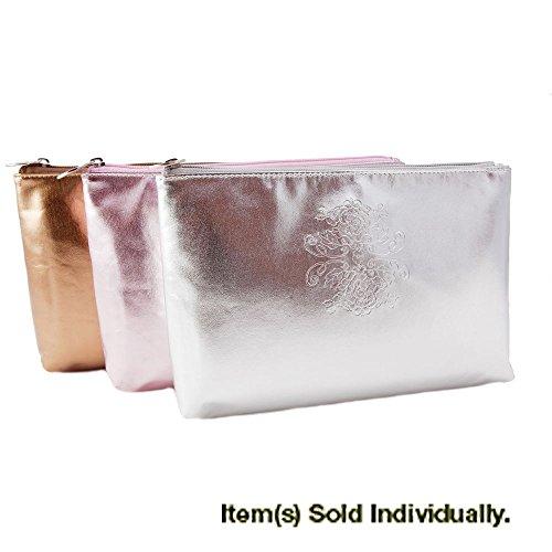 Bella Il Fiore Large Cosmetics Bag Metallic Silver