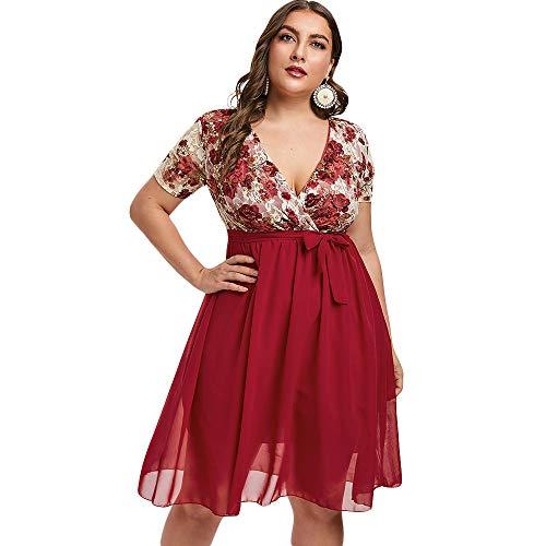 ZEZCLO Women's Plus Size V-Neck Lace Insert Chiffon Double Layer Surplice Dress Red XL